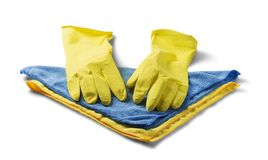 Sponges for cleaning,rag napkin, rubber gloves on white isolated white background. Items for cleaning the house. The idea of hygie. Ne and cleanliness stock photography