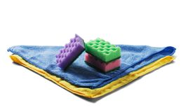 Sponges for cleaning,rag napkin, rubber gloves on white isolated white background. Items for cleaning the house. The idea of hygie stock photos