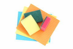 Sponges and cloths for cleaning. Royalty Free Stock Images