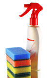 Sponges and detergent. Colored sponges and detergent iolated Royalty Free Stock Photo