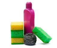 Sponges and detergents. On a white background Royalty Free Stock Photo