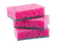 Pink sponge on white isolated background Stock Photo