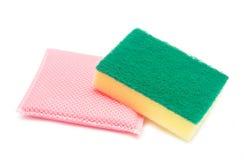 Sponges for dishwashing on white background Royalty Free Stock Photos