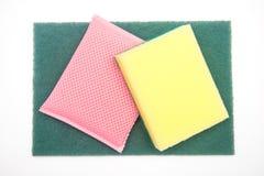 Sponges for dishwashing on white background Royalty Free Stock Image