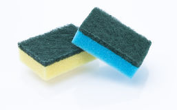Sponges isolated. Image shows two colored sponges isolated on white royalty free stock images