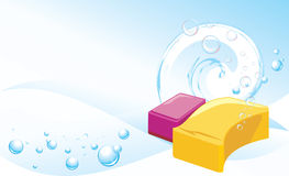 Sponges with soapy bubbles. Abstract background stock images