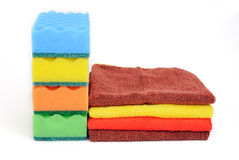 Sponges and towels Royalty Free Stock Photography