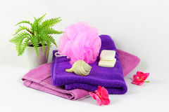 Sponges and towels Royalty Free Stock Images
