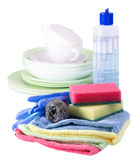Sponges, towels and dishwashing detergent Stock Images
