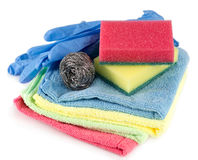 Sponges, towels and dishwashing detergent Royalty Free Stock Images