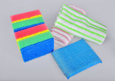 Sponges and towels Royalty Free Stock Photos