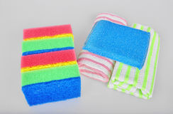 Sponges and towels stock photography