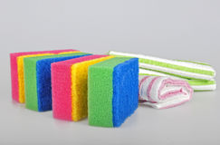 Sponges and towels royalty free stock photo