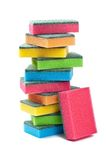 Sponges tower. Many Colorfull Sponges Tower on White Background Stock Photos