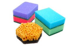 Sponges for ware washing isolated on a white background Stock Photography