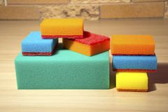 Sponges for washing dishes of different sizes. royalty free stock photo