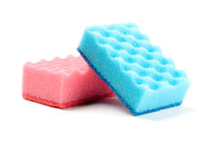 Sponges for washing dishes. Two sponges for washing dishes on white background Stock Photos