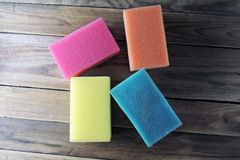 Sponges for washing dishes. On white background royalty free stock image