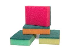 Sponges for washing dishes  on white background Stock Photo
