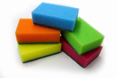 sponges for washing dishes on a white background Stock Images
