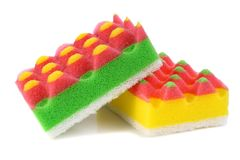 Sponges for washing and taking away on kitchen Royalty Free Stock Images