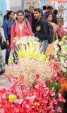 Spongewood gemaakte kunstmatige gekleurde bloemen Stock Afbeelding