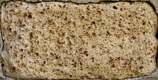 The Spongy Brick. The corroded old brick. Light brown with dark brown dots. Background. Horizontal Royalty Free Stock Photos