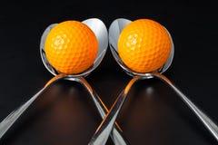Sponns en golfballen Royalty-vrije Stock Foto's