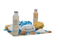Spons en handdoek - wellnessreeks Stock Afbeelding