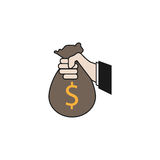 Sponsor Investment solid icon, Holding Money Bag. Sponsor Investment solid icon, Hand Holding Money Bag, vector graphics, a colorful linear pattern on a white Royalty Free Stock Photo