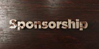 Sponsoring - grungy houten krantekop op Esdoorn - 3D teruggegeven royalty vrij voorraadbeeld stock illustratie