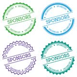 Sponsors badge isolated on white background. Flat style round label with text. Circular emblem vector illustration Stock Image