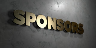 Sponsors - Gold sign mounted on glossy marble wall  - 3D rendered royalty free stock illustration. This image can be used for an online website banner ad or a Stock Images