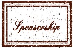 SPONSORSHIP brown square distressed stamp. Illustration image Royalty Free Stock Images