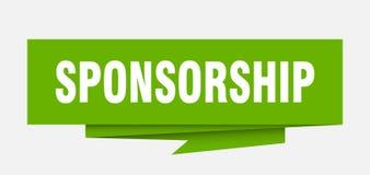 Sponsorship. Sign.  paper origami speech bubble.  tag.  banner stock illustration