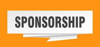 Sponsorship. Sign.  paper origami speech bubble.  tag.  banner royalty free illustration