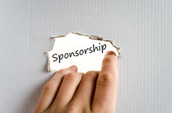 Sponsorship text concept. Isolated over white background Stock Image