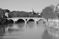 Spont of the Tiber river. In Rome with view of San Pietro`s dome Royalty Free Stock Image