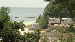 The spontaneous camping on the shore of the Bay of Varna in Bulgaria. Varna - the sea capital of Bulgaria, the third largest city in the country. The city was stock video footage