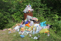 Spontaneous garbage dump in a park Royalty Free Stock Photo