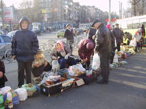 Spontaneous market. In Kiev near metro Stock Images