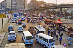 The spontaneous traffic in Cairo Royalty Free Stock Photo