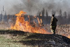 Spontaneous uncontrolled spread of fire stock photo