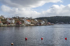 Cottages and houses in sponvika Royalty Free Stock Images