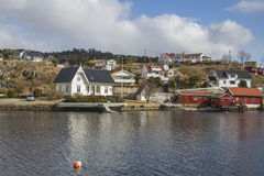 Cottages and houses in sponvika Stock Photography