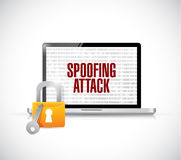 Spoofing attack computer lock concept. Illustration design graphic over white Stock Photography