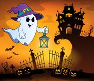 Spook met hoed en lantaarnonderwerp 1 vector illustratie