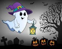 Spook met hoed en lantaarnonderwerp 2 stock illustratie