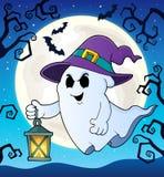 Spook met hoed en lantaarnthema 2 vector illustratie