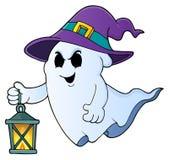 Spook met hoed en lantaarnthema 1 royalty-vrije illustratie